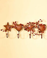 Country Primitive Hearts & Stars Berries Folk Art Bath Towel Hanger Wall Hooks
