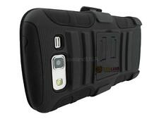BLACK RUGGED ARMOR CASE COVER + BELT CLIP HOLSTER FOR SAMSUNG GALAXY GRAND 2