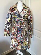 Women's OILILY Waterproof Printed Mac Raincoat Jacket Coat Size 38 UK 10