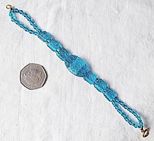 ANTIQUE TURQUOISE GLASS BRACELET SHAPED LIKE A WATCH PROFESSIONALLY RESTRUNG