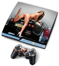 Ps3 skin HOT GIRL + Bugatti pour playstation 3 slim autocollants pour console +2 xcontroller
