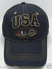 USA Ball Cap Hat US United States American Flag Old Glory Stars Stripes Denim