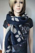 Reversible Floral Wool Scarf (Blue & Grey)