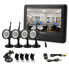 Home 7 inch TFT-LCD Monitor 2.4G Wireless Cameras 4CH DVR CCTV Security System Y