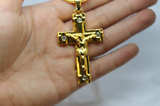 Men Gold Plated Jeweled Crucifix Cross Pendant Hip-Hop Long Chain Mens Necklace