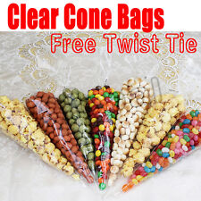 100pcs Cello Cellophane Cone Shaped Sweet Treat Display Favor Gift Party Bags GV