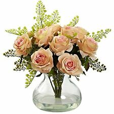 Nearly Natural 1366-PH Rose and Maiden Hair Arrangement with Vase- Peach