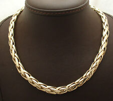 "16"" All Shiny Bold Woven Wheat Spiga Chain Necklace Real 14K Yellow Gold QVC"