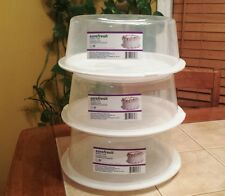 SET of 3 CAKE/PIE STORAGE SAVER CARRIER with Locking Lid & Handle NEW