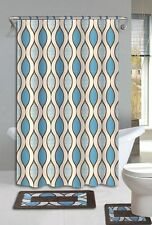 Glenn Brown & Blue 15-Piece Bathroom Accessory Set 2 Bath Mats Shower Curtain