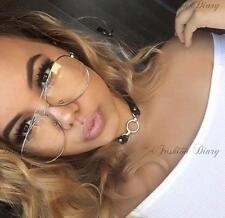 LARGE METAL FRAME CLEAR LENS OVERSIZED AVIATOR FASHION BLOGGER GLASSES TRENDY BN