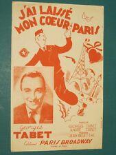 """Partition Chant """"J'ai laissé mon coeur à Paris"""" DELETTRE TABET"""