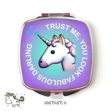 Funny Emoji Unicorn Cute Compact Make up Handheld pocket Mirror Gift CME6