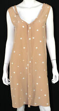 MARNI Nude & White Polka Dot Silk Tie Detail Sleeveless Shift Dress 42