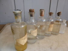 Antique set of 6 apothecary chemist's glass bottles with contents