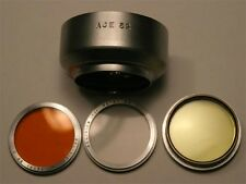 ACE 32 metal slip on lens hood w UV / O / Y filters for Petri 35 super clean