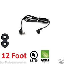 12 Foot TV CBF Power Cord 2 Prong Right angled 90 degree for Samsung Panasonic