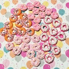 Kawaii Iced Pink Donuts Cabochons For Hair Bow Smiley Doughnut Cabochons Decoden