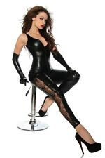 Black PVC bodysuit lace legs clubwear PVC wet look, sexy, party fits 8/10/12....