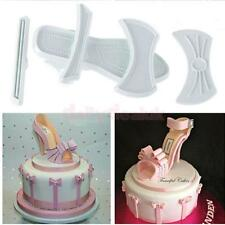Set 9pcs Fondant Cake Plastic Lady High-Heel Shoes Baking Mould Mold Cutter