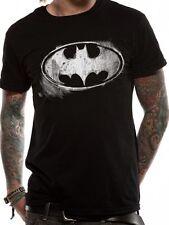 BATMAN Logo Simbolo mono effetto invecchiato T-shirt con licenza Top Nero XL