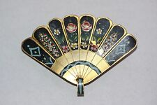 Vintage Hand Painted Brass Fan Enameled Pin Brooch