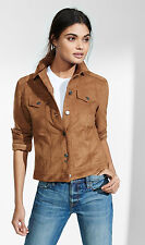 NEW EXPRESS NUTMEG FAUX SUEDE TRUCKER JACKET SZ XS EXTRA SMALL