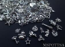 50pcs Mixed Silver Loose Charms Pendants Jewelry Making Beads Wholesale Bulk Lot
