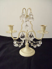 A LOVELY SHABBY CHIC CANDLE HOLDER/CANDELABRA WITH GLASS PRISMS