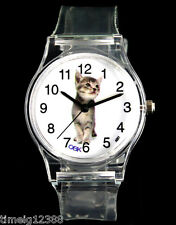 Cat Cartoon Novelty Watch Child Kids Transparent Boy Girl Sport Wrist Watches
