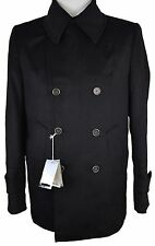#Z304 NEW ACQUAVIVA Black Wool & Cashmere Blend Double Breasted Coat 44R $595