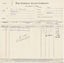 1949 Invoice The Federal Glass Co. Columbus, Oh. to J.B. Lynas in Logansport, In