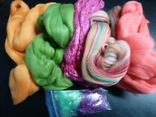 Merino Silk Angelina Fiber Pack Hollyberry Spinning Felt Card 5.25 Ounces
