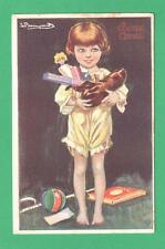 1924 SERGIO BOMPARD CHRISTMAS/NEW YEAR POSTCARD GIRL PJ'S GIFTS IN HER SHOE!