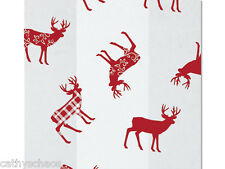 "25 Holiday Deer Red Plaid 4x9"" Cello Bags Cellophane Christmas Cookie Gifts"