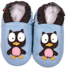 shoeszoo owl light blue 2-3y S soft sole leather toddler shoes