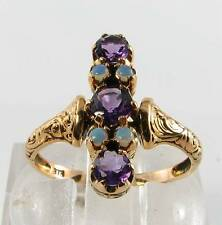 LOvELY LONG 9CT GOLD AFRICAN AMETHYST & OPAL ART DECO INS RING FREE RESIZE