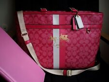 NWT COACH HERITAGE COATED PINK SIGNATURE C LG MULTI BABY DIAPER TOTE BAG PURSE