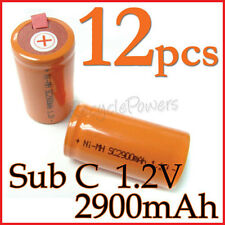 12 rechargeable Sub C SubC With Tab 2900mAh Ni-MH Battery Orange cell pack