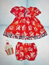 """Handmade Doll Clothes for 12"""" - 14"""" Baby Dolls - """"Cupcakes"""" Red Orange Dress Set"""