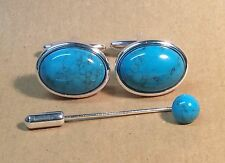 Turquoise Magnesite Oval Cufflinks with Cravat/Tie Pin, Silver finish.