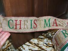 """50 Yards Wired Christmas Linen Ribbon with glitter letters  2.5"""""""