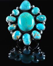 Navajo Sterling Silver Rare Natural Fox Turquoise Cluster Ring By Andy Cadman