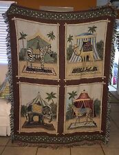 "Circus Throw Afghan Blanket Big Top Zebra Elephant Camel Cheetah Wall 52"" X 72"""