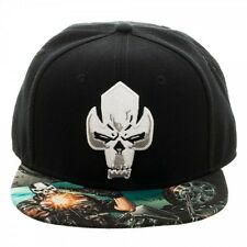 MARVEL COMICS CROSSBONES LOGO SUBLIMATED BILL ADJUSTABLE BLACK SNAPBACK HAT CAP