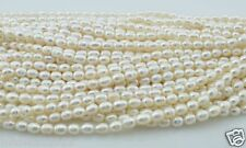 1 strand 7-8 mm White rice Freshwater Pearl Loose Beads 15""