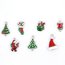 14pcs Wholesale Mixed Christmas Enamel Charms Alloy Pendants Fit Decoration J