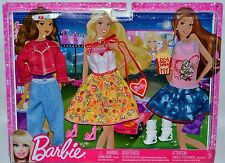NEW-2011-BARBIE-3 PACK DRIVE-IN THEATRE FASHIONISTAS FASHIONS-POPCORN-3D GLASSES