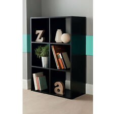 New Contemporary 6 Cube wooden Bookcase Shelving storage Unit - 2 colours