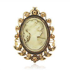 Round Cute Women Beauty Flower Cameo Brooches Pin Jewelry Decor Women Wedding
